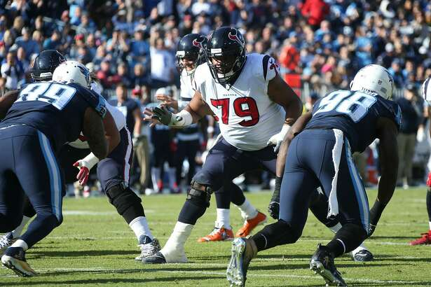 NASHVILLE, TN - DECEMBER 03: Jeff Allen #79 of the Houston Texans plays against the Tennessee Titans at Nissan Stadium on December 3, 2017 in Nashville, Tennessee. (Photo by Frederick Breedon/Getty Images)