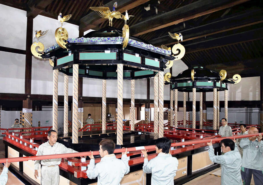 STANDALONE PHOTO: The takamikura, the dais-style throne used by a new Japanese emperor when his accession is proclaimed, was dismantled at the Kyoto Imperial Palace on Monday.The throne comprises about 1,500 components. The dismantling has been under way since June. In September, the throne will be taken by land transport to Tokyo together with the michodai, or dais for the new empress. It will be reassembled at the Imperial Palace in Tokyo. Sokuirei Seiden no Gi, the core enthronement ritual for the new emperor, is to be held on Oct. 22, 2019. Photo: Japan News-Yomiuri Photo / Japan News-Yomiuri