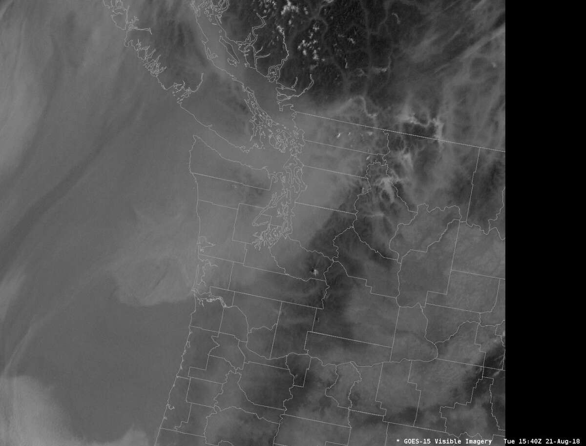 A snapshot of the smoke above the Pacific Northwest on August 21, 2018.