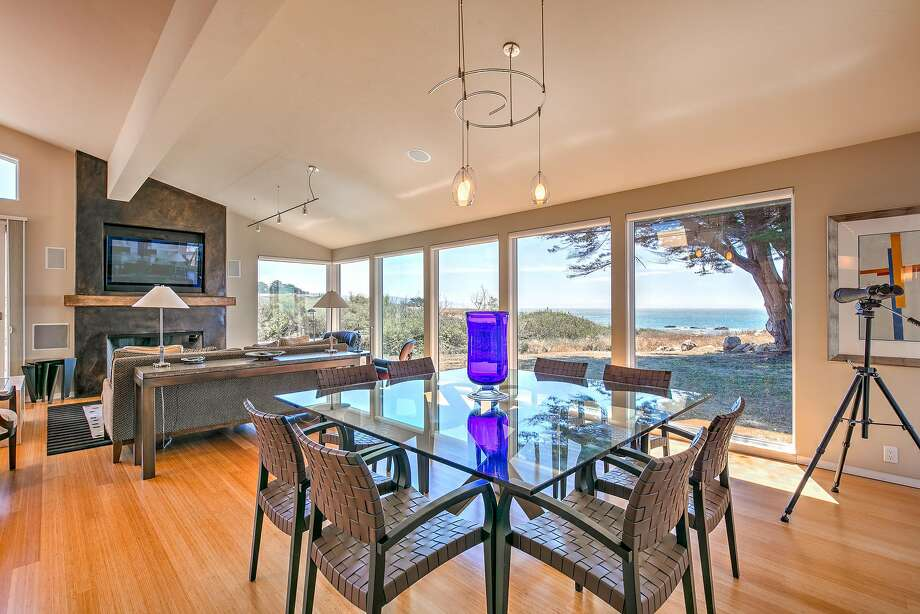 Oversized windows frame views of the Pacific Ocean at 40481 Tide Pool in Sea Ranch. Photo: Bill Oxford