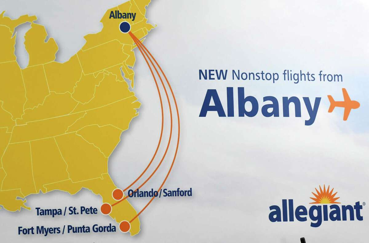 Allegiant Air announced new service to three Florida destinations from Albany International Airport on Tuesday, Aug. 21, 2018, at in Colonie N.Y. Flights to Fort Myers via Punta Gorda Airport, Orlando and Tampa via St. Pete-Clearwater will operate three times a week starting in December. (Will Waldron/Times Union)