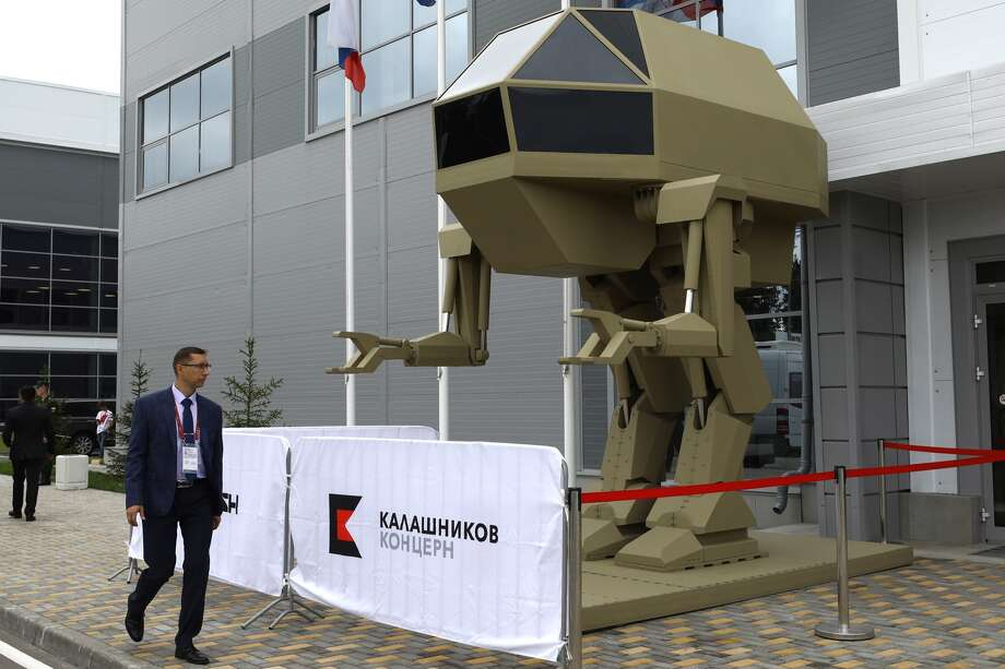A model of an Igoryok controlled bipedal walking robot weighing 4,5 tonnes developed by Kalashnikov Concern at the Army 2018 International Military and Technical Forum, in Patriot Park. Photo: Mikhail Tereshchenko/Mikhail Tereshchenko/TASS / This content is subject to copyright.