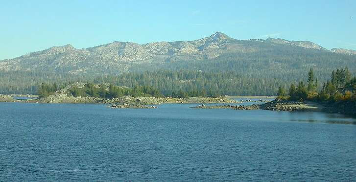 Loon Lake is 77 percent full in the Crystal Basin in Eldorado National Forest, backed against the Sierra Crest topped by Ellis Peak