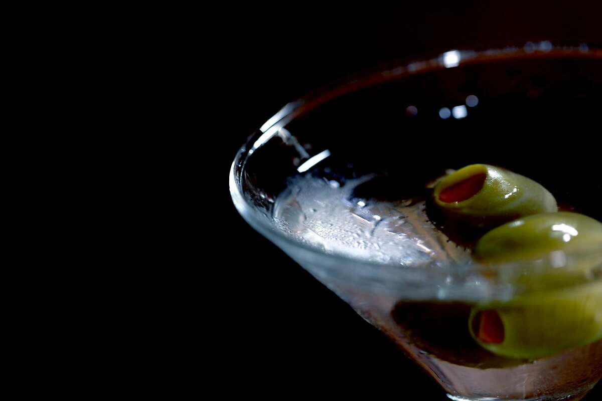 A martini with olives at Brazen Head, located at 3166 Buchanan St., in San Francisco, Calif., on Saturday, August 18, 2018.
