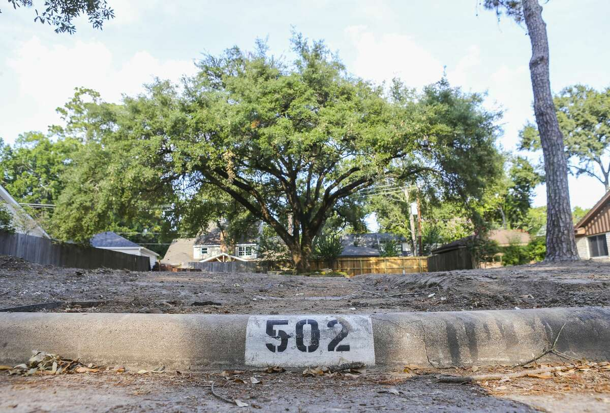 A single tree still remains in the former backyard of a demolished home in Nottingham Forest, Thursday, July 26, 2018 in Houston. A new survey shows that even as long-term recovery across the region has been largely steaming ahead, there remain troubling gaps, with lives still in disarray.