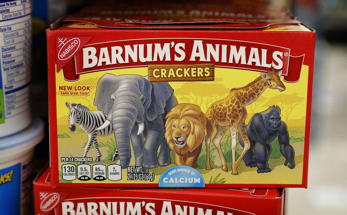 This Monday, Aug. 20, 2018, photo shows a box of Nabisco Barnum's Animals crackers on the shelf of a local grocery store in Des Moines, Iowa. Mondelez International says it has redesigned the packaging of its Barnum's Animals crackers after relenting to pressure from People for the Ethical Treatment of Animals.