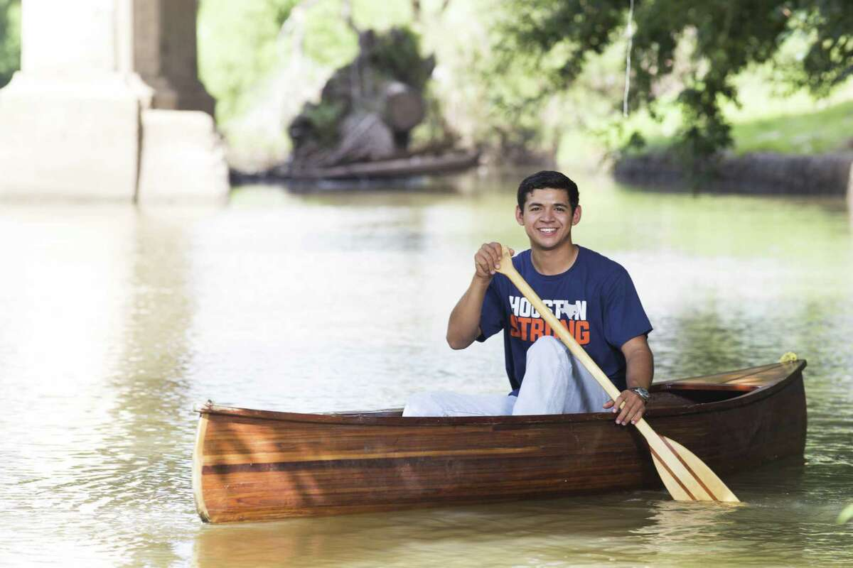 Aaron Arcos, an Eagle Scout, said his Boy Scout training in whitewater rafting and canoeing came in handy after Hurricane Harvey. Arcos came home from college to help with water rescues in Kingwood.