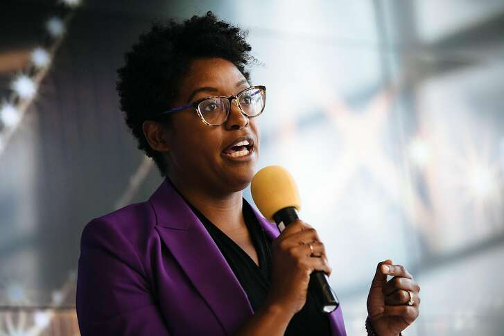 Christine Johnson addresses the crowd during her open remarks in a District 6 Supervisor debate at the Cloudflare  in San Francisco, Calif., Tuesday, July 24, 2018.