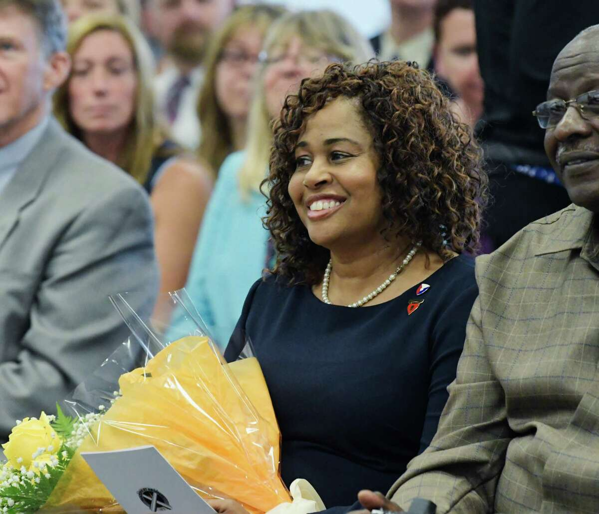 Romona Kelly, the wife of new Watervliet Arsenal commander, Colonel Milton Kelly, at a ceremony at the Watervliet Arsenal on Tuesday, Aug. 21, 2018, in Watervliet, N.Y. (Paul Buckowski/Times Union)