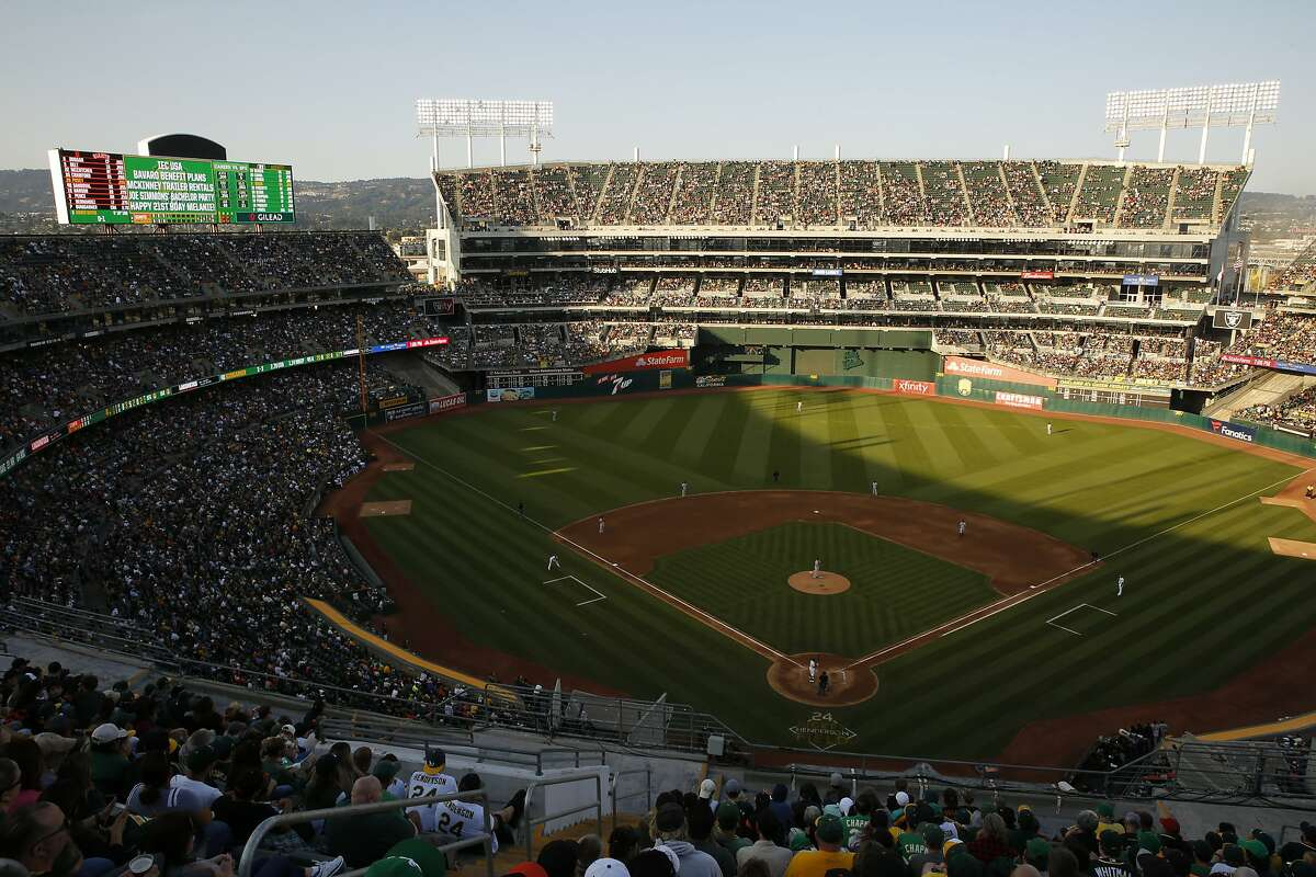 The Oakland Coliseum during an MLB game between the Oakland Athletics and San Francisco Giants on Saturday, July 21, 2018, in Oakland, Calif. For the first time in 13 years, the A�s opened Mount Davis, the tallest deck in the Oakland Coliseum.