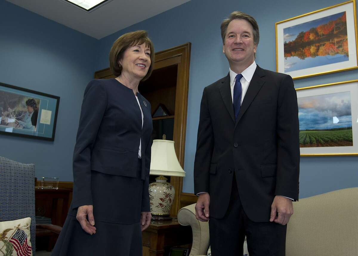 Sen. Susan Collins, R-Maine, meets with Supreme Court nominee Judge Brett Kavanaugh at her office, before a private meeting on Capitol Hill in Washington on Tuesday, Aug. 21, 2018. (AP Photo/Jose Luis Magana)