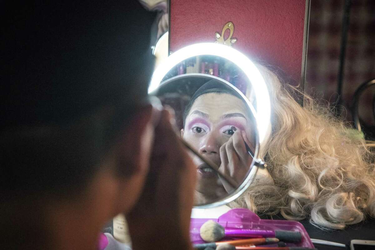Troupe 429 in Norwalk, a new LGBTQ bar in Norwalk presents hosts a Thursday night open mic show hosted by two drag performers. Hazel Berry (drag name) Josh Castillo (legal name) prepares for a evening of hosting at Troupe 429 in Norwalk.
