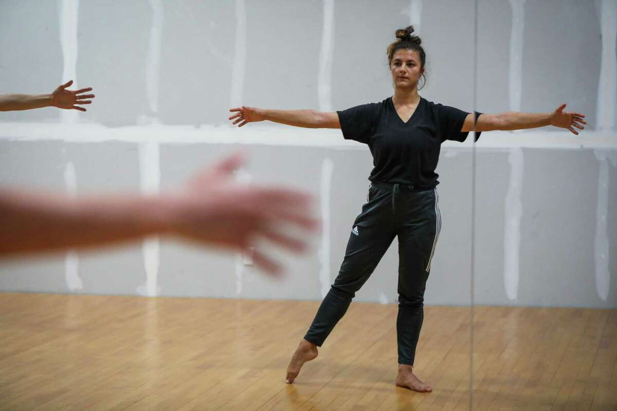 Courtney Hope, 27, in a company class for Fullstop Dance, at City Dance Annex in San Francisco, California, on Thursday, Aug. 2, 2018.