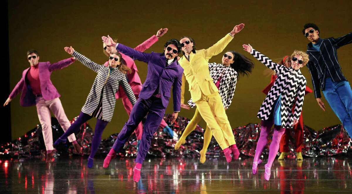 """Members of the Mark Morris Dance Group perform in """"Pepperland,"""" which debuted last year in Liverpool to mark the classic Beatles album's 50th anniversary."""