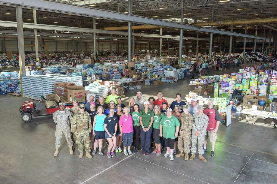 Shortly after Hurricane Harvey devastated the greater Houston area, Interfaith of The Woodlands set up a donation center at the Falcon Steel America warehouse in Conroe. Photo: Derrick Bryant