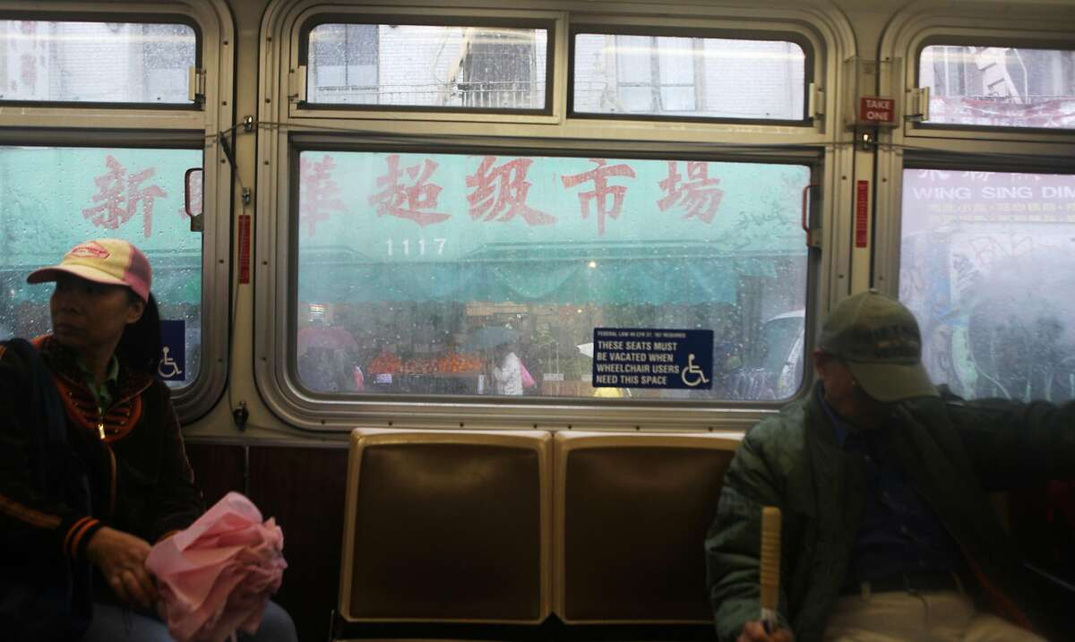 A storefront in Chinatown is seen from a 30-Stockton Muni bus on Friday, November 30, 2012 in San Francisco, Calif.