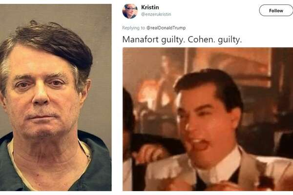 PHOTOS: The internet can't contain its excitement.  Meme obsessed internet users wasted no time capitalizing on the guilty verdicts for former Trump campaign chairman Paul Manafort and the guilty plea from Michael Cohen, President Donald Trump's former personal lawyer. >>>Swipe through and try not to laugh at the expense of these two men...