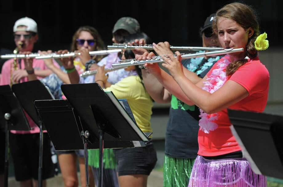 Freshman Kaitlyn Giancaspro practices with the flute section during the Norwalk High School Marching Bears Band Camp Tuesday, August 21, 2018, at the school in Norwalk, Conn. Photo: Erik Trautmann / Hearst Connecticut Media / Norwalk Hour