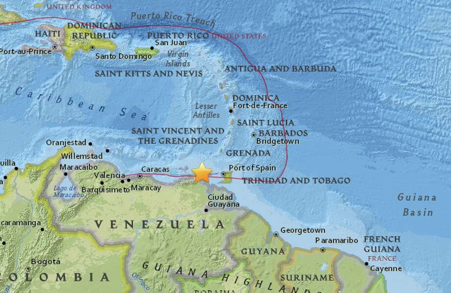 The United States Geological Survey reports a preliminary magnitude 7.3 earthquake struck near Irapa, Venezuela on Tuesday. Photo: USGS