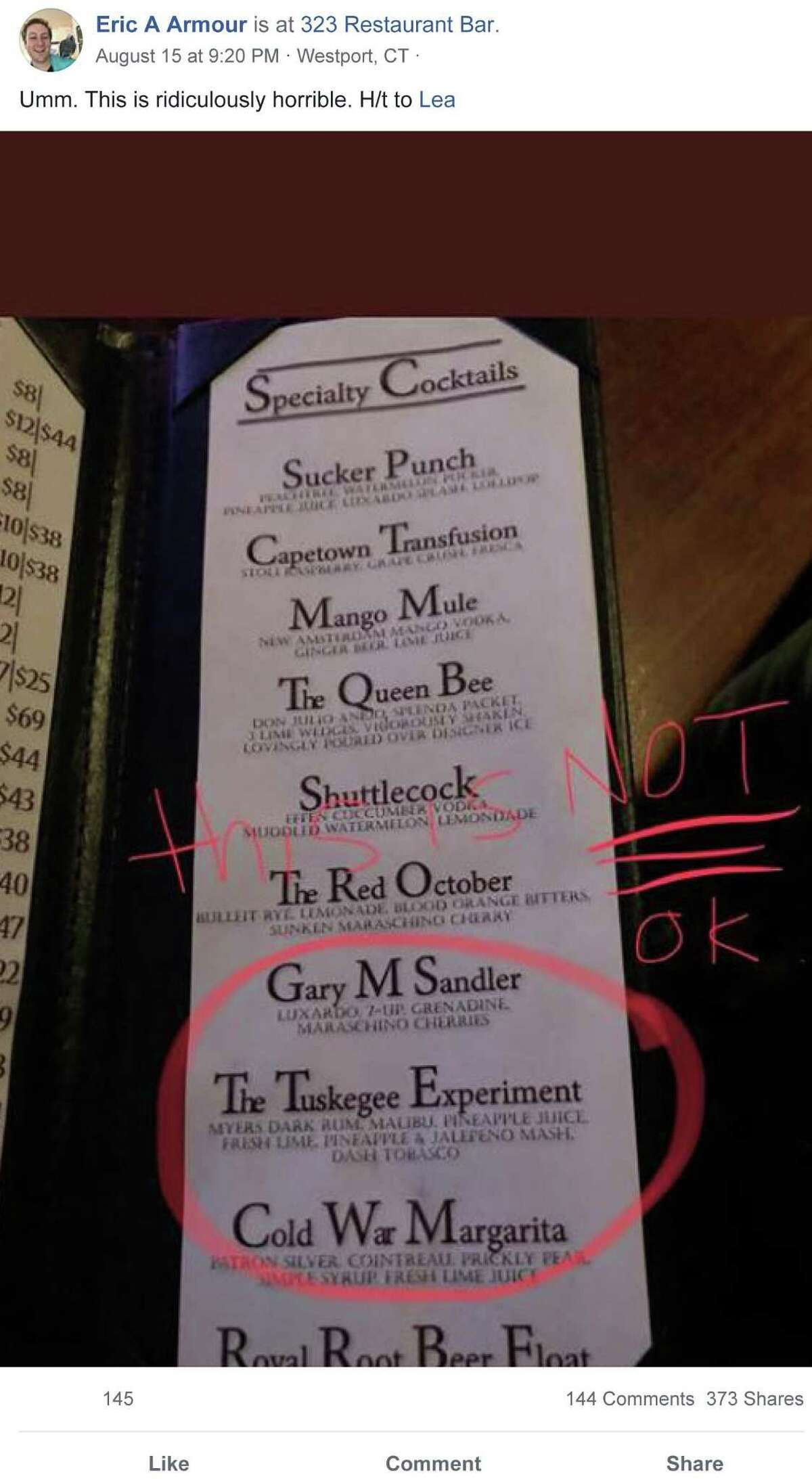 On Aug. 15, Eric A Armour posted a photo of the specialty cocktail menu at 323 Restaurant in Westport, which included a cocktail called