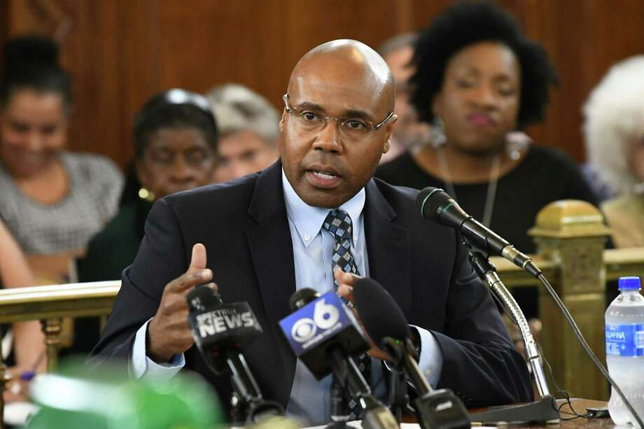 Eric Hawkins, Mayor Kathy Sheehan's pick to be the next Albany police chief, is questioned by the common council before they vote on his appointment at Albany City Hall on Tuesday, Aug. 21, 2018 in Albany, N.Y. (Lori Van Buren/Times Union) Photo: Lori Van Buren, Albany Times Union / 20044624A