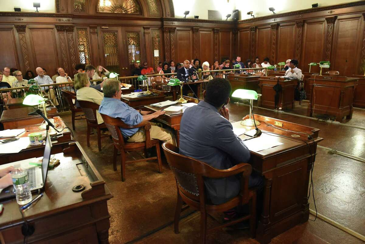 Eric Hawkins, Mayor Kathy Sheehan's pick to be the next Albany police chief, is questioned by the common council before they vote on his appointment at Albany City Hall on Tuesday, Aug. 21, 2018 in Albany, N.Y. (Lori Van Buren/Times Union)
