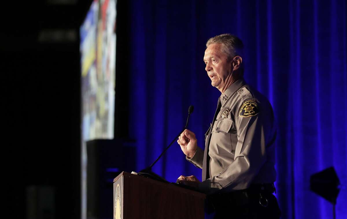 Alameda County Sheriff Gregory Ahern makes opening remarks to kick off the first day of Urban Shield at the Alameda County Fairgrounds in Pleasanton on Friday, September 8, 2017. He has called a conversation allegedly recorded between a juvenile suspect and public defender an isolated incident.