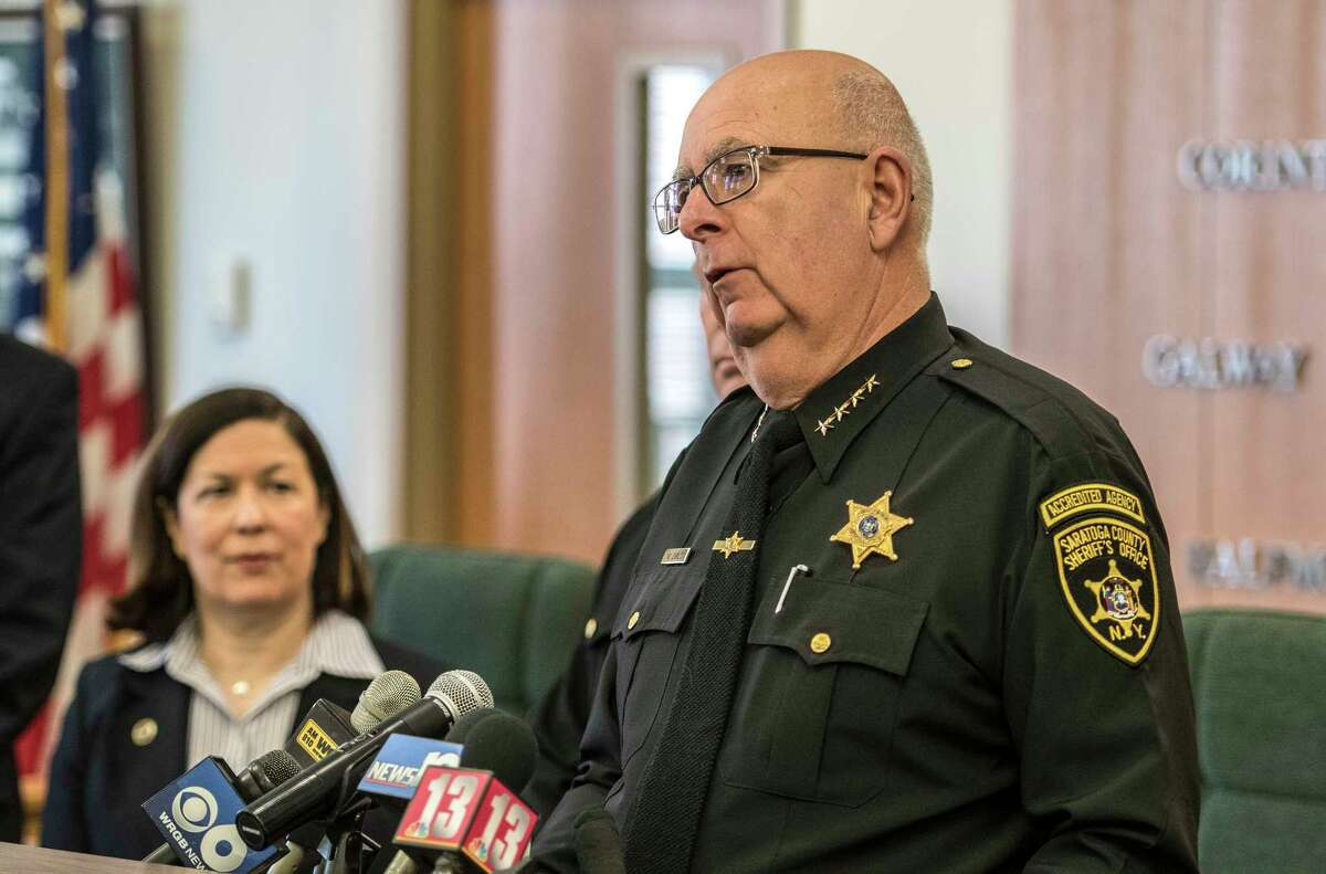 Saratoga County Sheriff Mike Zurlo gives some details of the drug bust during a press conference on Monday, March 19, 2018, in the County Office building in Ballston Spa, N.Y. (Skip Dickstein/Times Union archive)