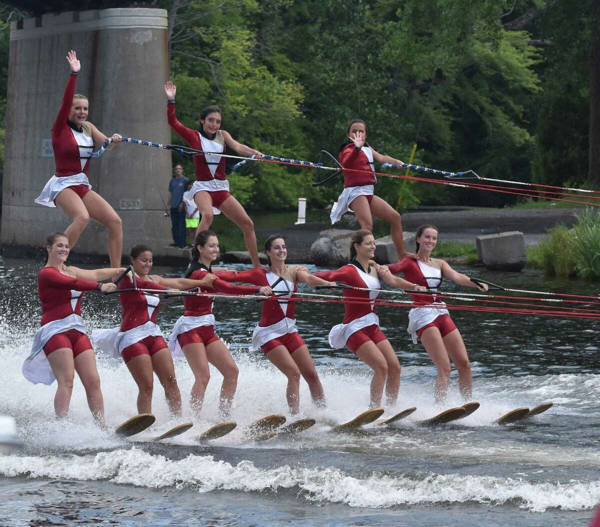 The X-Squad Water Ski Show Team girls from Scotia create a pyramid at Sylvan Beach, Oneida County earlier this month. (Clare Beretvas)
