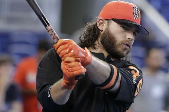 BRANDON CRAWFORD San Francisco Giants' Brandon Crawford waits to hit during batting practice before a baseball game against the Miami Marlins, Wednesday, June 13, 2018, in Miami. (AP Photo/Lynne Sladky)