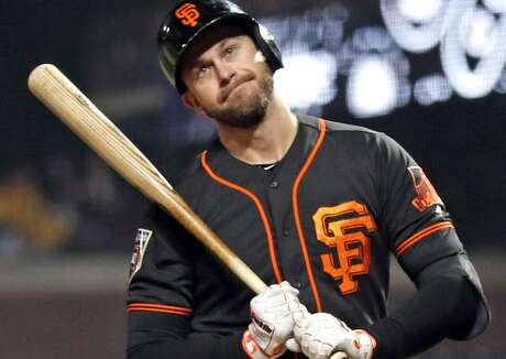 San Francisco Giants' Evan Longoria reacts to striking out in 4th inning against Oakland Athletics during Bay Bridge Series game at AT&T Park in San Francisco, Calif., on Monday, March 26, 2018. Photo: Scott Strazzante / The Chronicle / San Francisco Chronicle