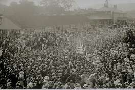 """The Railroad Museum Of New England and the Torrington Historical Society are collaborating to offer train rides from Thomaston to Torrington and return and a brief presentation by Mark McEachern introducing the """"All Hands on Deck: Torrington and World War I"""" exhibit. In the contributed photo, a crowd of Torrington residents say farewell to National Guard Company M soldiers in 1916."""