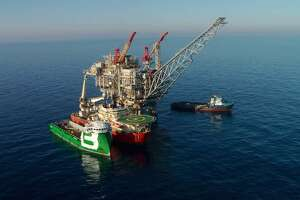 The production platform at Noble Energy's Tamar field off the coast of Israel in the Mediterranean Sea began producing natural gas in 2013. The fuel from the platform currently generates more than half of Israel's electricity, the company says.