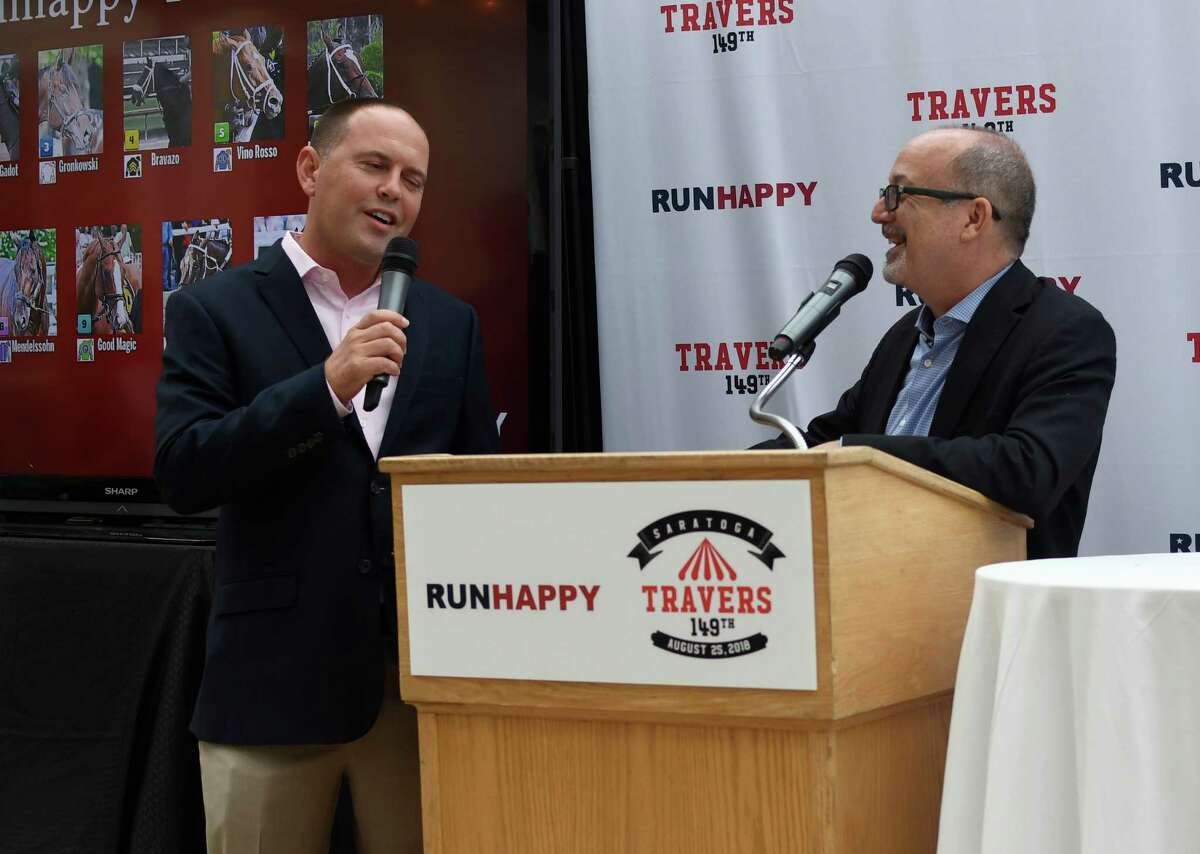 Chad Brown, whose horses Gronkowski (4-1) and Good Magic (2-1) drew positions 3 and 9, speaks with NYRA's Andy Sterling following the post position draw for the 149th running of the Travers at Adelphi Hotel in Saratoga Springs, N.Y. on Tuesday, Aug. 21, 2018. (Jenn March, Special to The Times Union)
