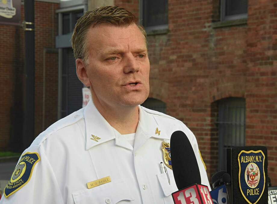 Acting police chief Mike Basile briefs the press at the scene of a shooting on the 300 block of Elk Street on Aug. 20, 2018 in Albany, N.Y. (Lori Van Buren/Times Union)