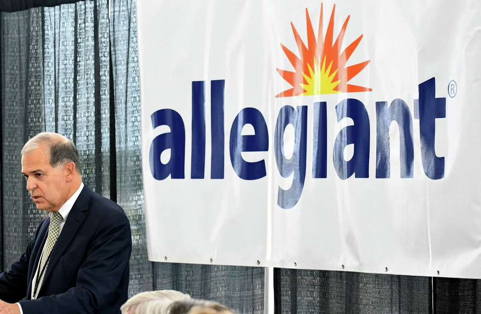 John O'Donnell, Albany County Airport Authority CEO, speaks during an announcement to welcome Allegiant Air to Albany International Airport on Tuesday, Aug. 21, 2018, at Albany International Airport in Colonie N.Y. The discount airline offers direct flights, three times a week, to Fort Myers via Punta Gorda Airport, Orlando and Tampa via St. Pete-Clearwater starting in December. (Will Waldron/Times Union)