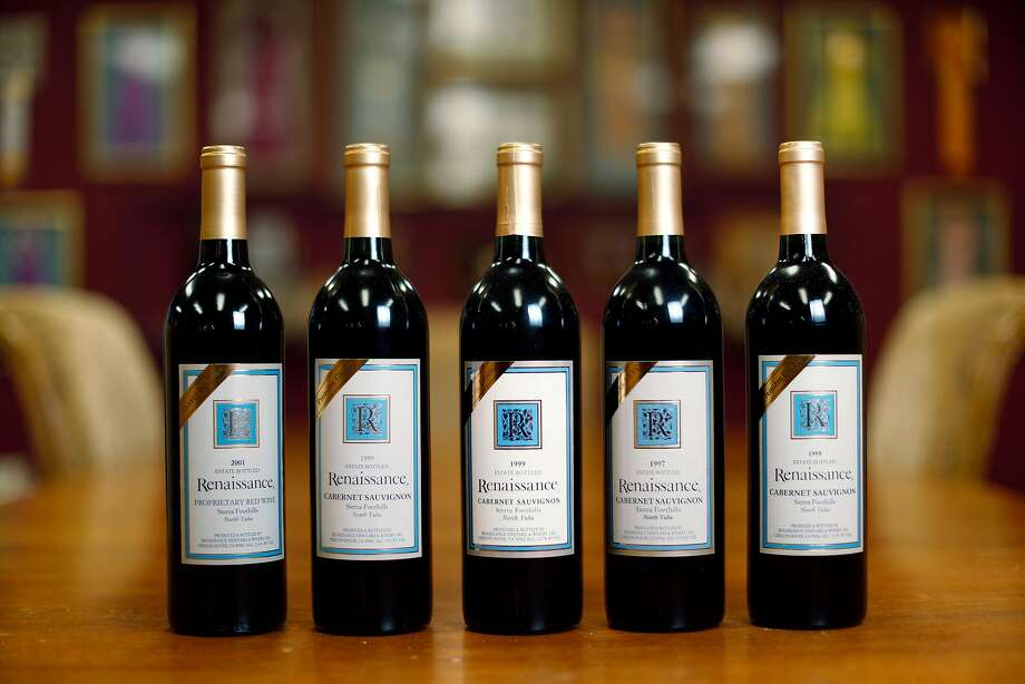 A selection of Renaissance wines from Gideon Beinstock's tenure as winemaker. Now more than 20 years old, the wines are still showing beautifully. Photo: Carlos Avila Gonzalez / The Chronicle