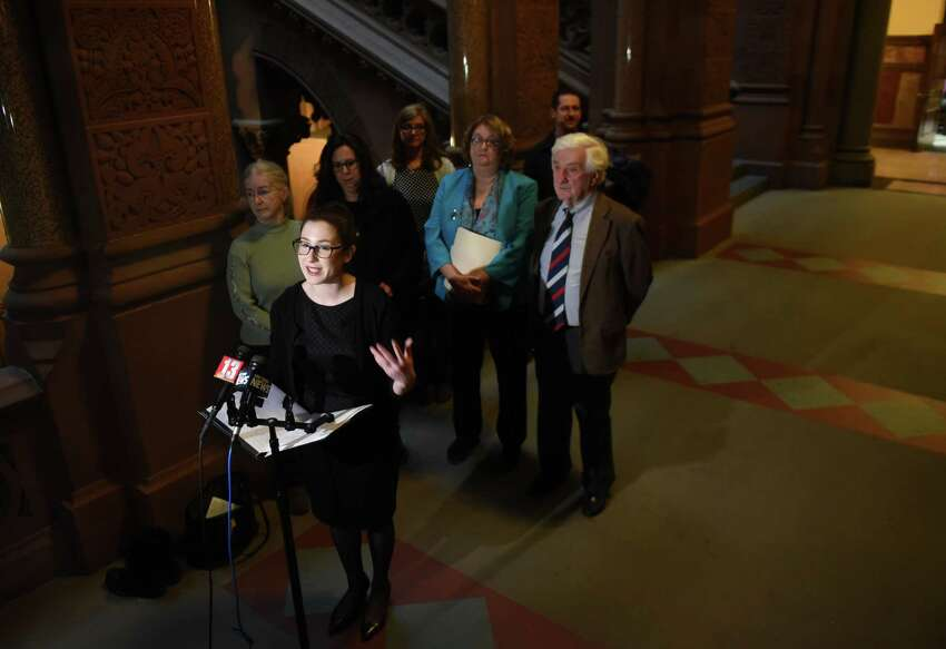 Liz Moran, water and natural resources director for Environmental Advocates of New York speaks during a press conference at the Capitol where residents and allies demanded a new source of clean drinking water for Hoosick Falls on Friday, Jan. 12, 2018, in Albany, N.Y. (Will Waldron/Times Union)