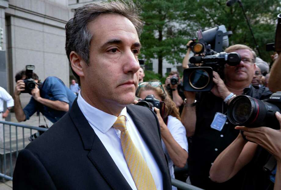 Michael Cohen, former personal lawyer to President Donald Trump, leaves federal court after reaching a plea agreement in New York, Tuesday, Aug. 21, 2018. Cohen, has pleaded guilty to charges including campaign finance fraud stemming from hush money payments to porn actress Stormy Daniels and ex-Playboy model Karen McDougal. (AP Photo/Craig Ruttle) Photo: Craig Ruttle / FR61802 AP