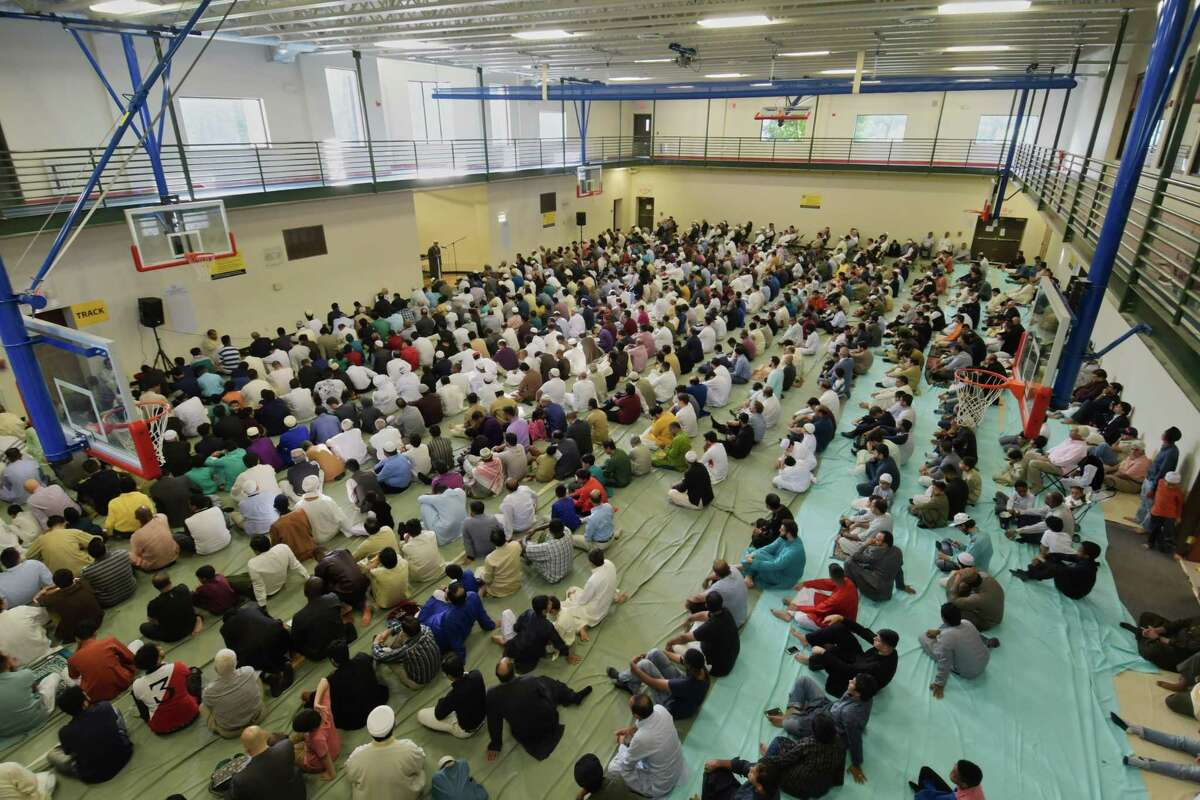 Muslims gather for prayers to celebrate Eid ul Adha at the Islamic Center of the Capital District on Tuesday, Aug. 21, 2018, in Colonie, N.Y. (Paul Buckowski/Times Union)