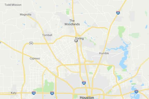 Google Maps view showing location of vehicle crash on I-45 near The Woodlands.