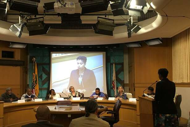 Reygan Cunningham, the Ceasefire Program Director for the Oakland Police Department, presents a report regarding the reduction of fatal and nonfatal shootings to the Safety and Services Oversight Commission in Oakland on Tuesday, August 21, 2018.
