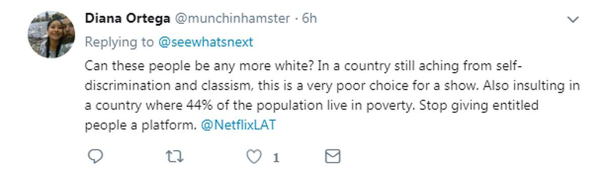 @munchinhamster: Can these people be any more white? In a country still aching from self-discrimination and classism, this is a very choice for a show. Also insulting in a country where 44% of the population live in poverty. Stop giving entitled people a platform.