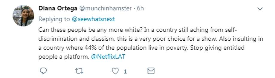@munchinhamster: Can these people be any more white? In a country still aching from self-discrimination and classism, this is a very choice for a show. Also insulting in a country where 44% of the population live in poverty. Stop giving entitled people a platform. Photo: Twitter/@munchinhamster