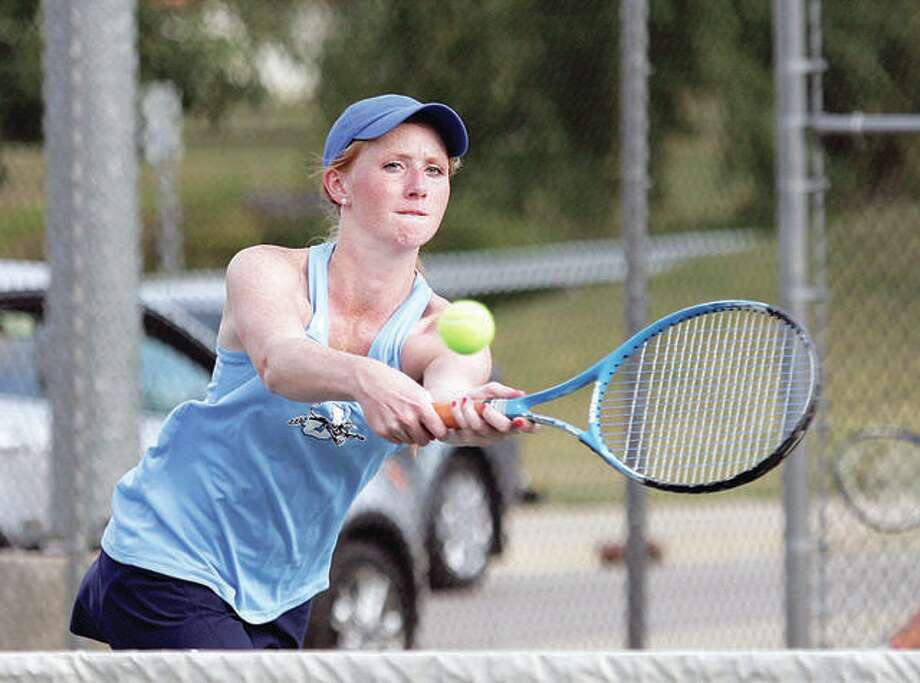 Jersey's Hannah Hudson knocked off Waterloo's Emily Williams 6-0, 6-2 Tuesday to win the No. 2 singles match in the Panthers' season opener. Jersey went on to a 9-0 win. Photo:       Telegraph File Photo
