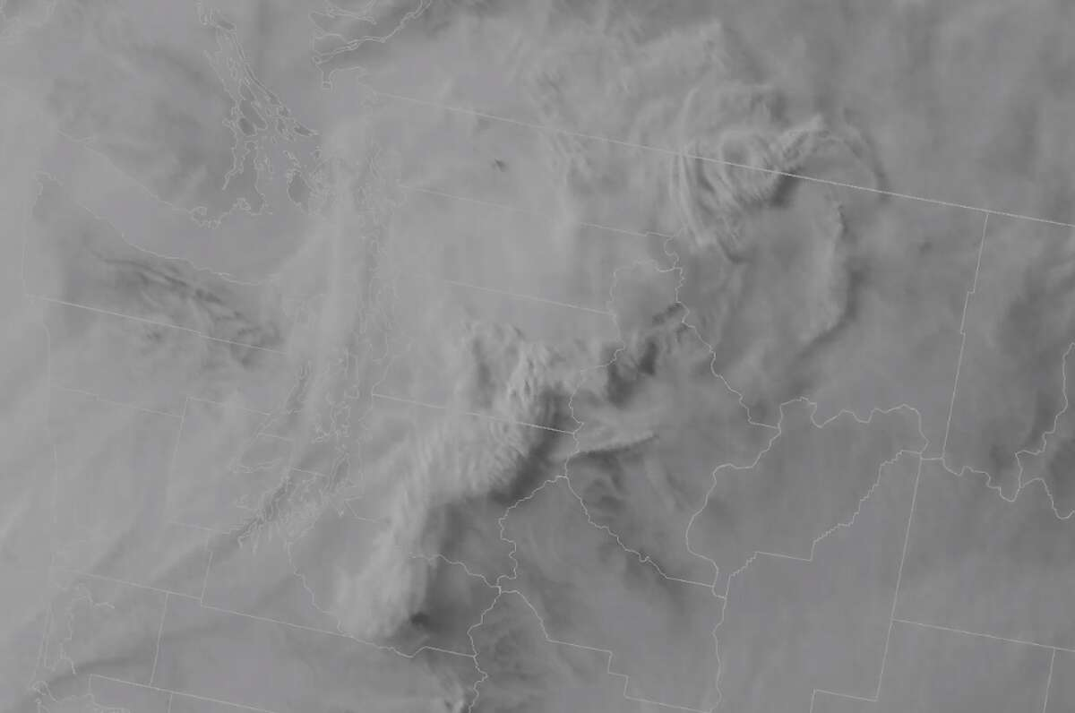 Satellite imagery of smoke flowing into Western Washington from Canada and northern Washington wildfires.