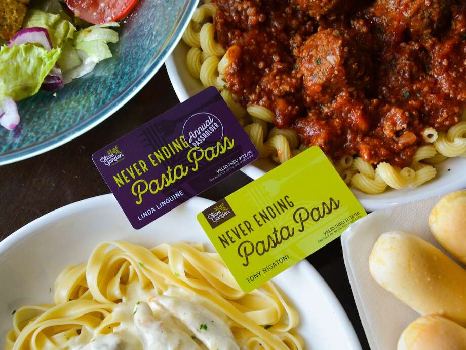 Olive Garden's Pasta Pass is coming back. The card provides holders with eight weeks of unlimited pasta, soup or salad, and breadsticks. Photo: Olive Garden
