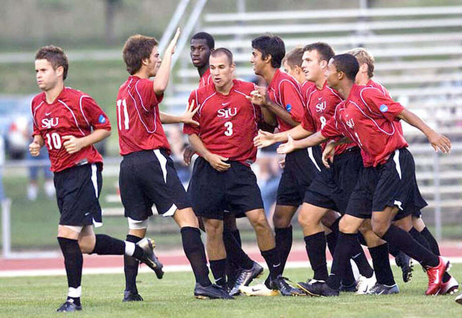 Members of the 2004 SIUE men's soccer team celebrate a win. The team, which finished second in the NCAA Division II National Tournament, is one of several teams and individuals named to the SIUE Hall of Fame Photo:       SIUE Athletics