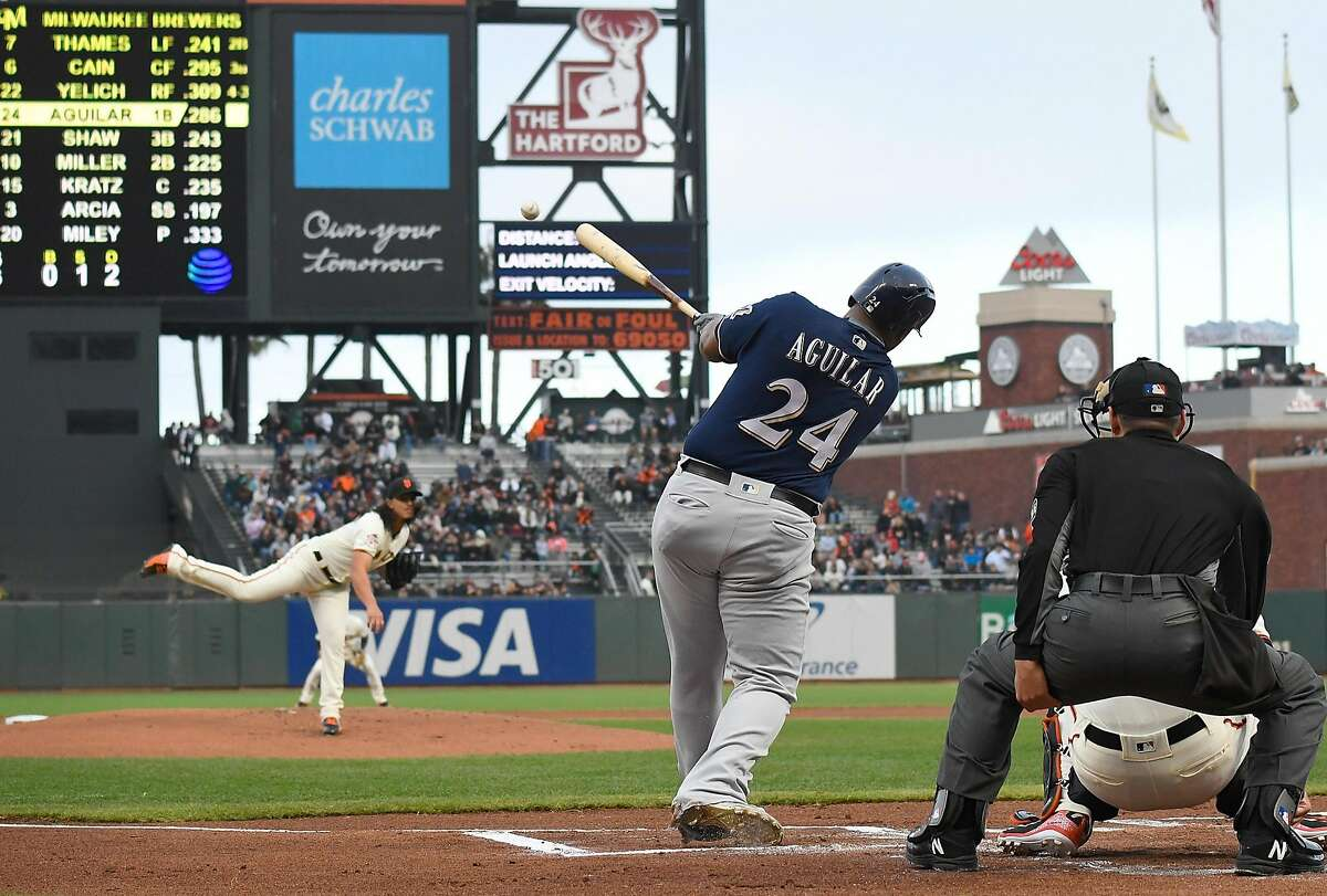 SAN FRANCISCO, CA - JULY 26: Jesus Aguilar #24 of the Milwaukee Brewers hits a double off of pitcher Dereck Rodriguez #57 of the San Francisco Giants in the top of the first inning at AT&T Park on July 26, 2018 in San Francisco, California. (Photo by Thearon W. Henderson/Getty Images)