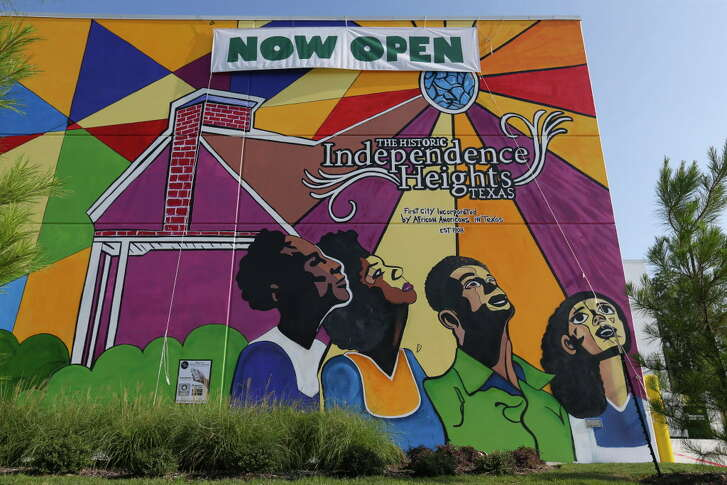 The Whole Foods Market 365 mural reflects the African American roots of the Independence Heights on Wednesday, Aug. 22, 2018, in Houston.